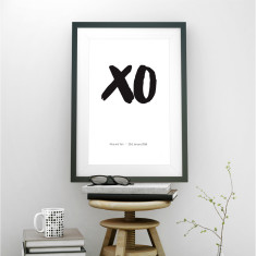 Personalised wedding XO art print