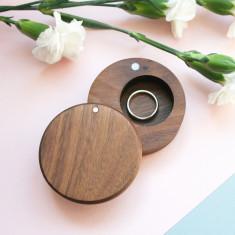 Walnut Wood Round Ring Box