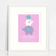 Girls personalised birth prints (elephants)