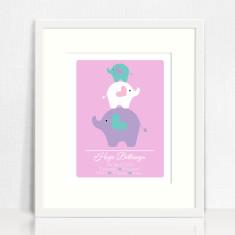 Girls personalised birth prints (elephants)