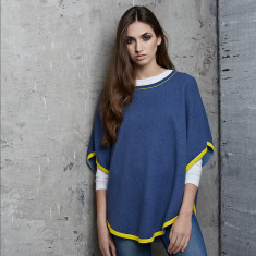 Reversible Cotton/Cashmere Poncho in Blue/Yellow
