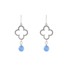 Silver blue clover earrings