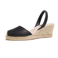 Foro velvet leather sandals in black