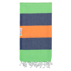 Mammamas Turkish Towel in Clash Guppy/Navy & Orange