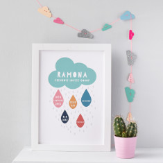 Personalised Birth Statistics Rain Cloud Print