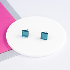 Mini Acrylic square studs - teal green mirror