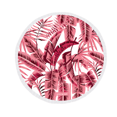 Banana Palms Pink Large Luxury Round Beach Towel
