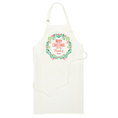 Personalised Holly Wreath Apron