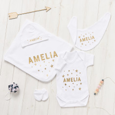 Personalised New Baby Scandi Stars Gift Set