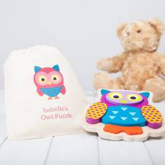 Personalised Wooden Owl Puzzle With Personalised Bag