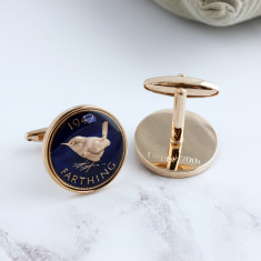 Farthing 70th 1947 Rose Gold Enamel Coin Cufflinks