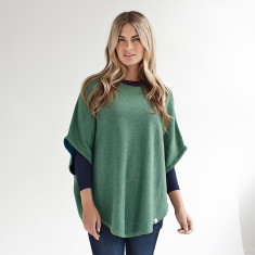 Reversible cotton cashmere poncho in duck egg & green
