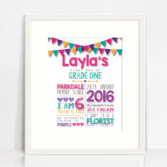 Personalised first day of school print - girls and boys (downloadable file only)