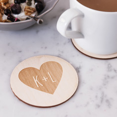 Personalised couples heart coaster
