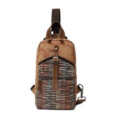 Canvas Sling Chest Shoulder Bag In Brown