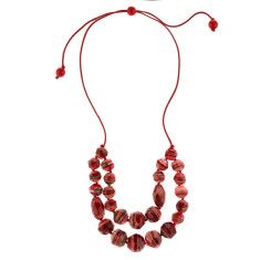 Eloquence artisan double edge necklace in rouge red
