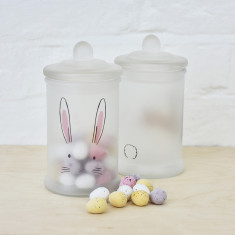 Easter bunny face sweet jar