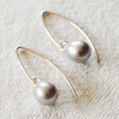 Long Grey Pearl Drop Earrings