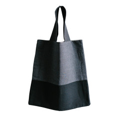 Denim and charcoal tote bag