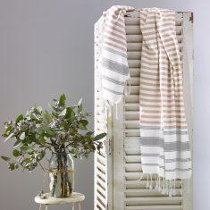 Whitehaven Turkish Towel - Latte/Grey