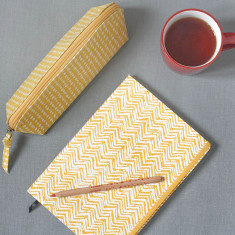 Spot And Chevron A5 Notebook And Pencil Case Set