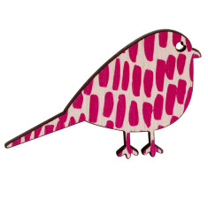 Bird brooch with pink lines