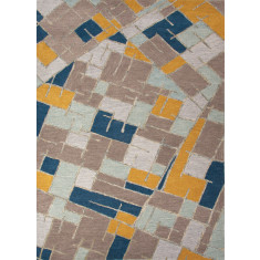 Multi modern hand-tufted wool rug