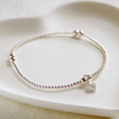 Silver Bead Bracelet With Tiny Frosted Heart Charm