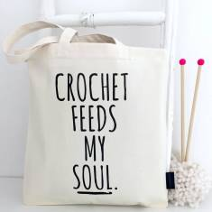 Crochet feeds my soul crochet project bag