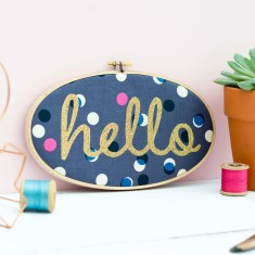 Hello Embroidery Hoop Artwork