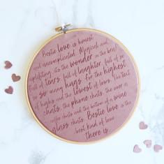 BFF Best Friend Love Velvet Embroidery Hoop
