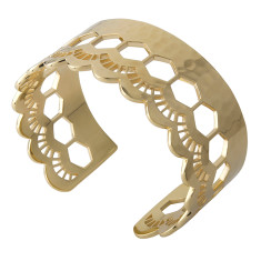 Lace edge open cuff in 18 kt yellow gold plate