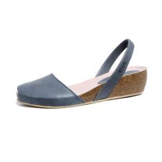 Cardona leather wedge sandals in steel blue