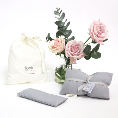 Luxe relax heat pillow & eye pillow meditation gift pack in Dove