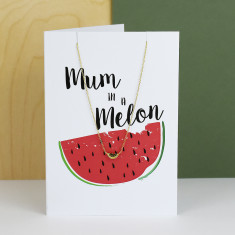 Mum In A Melon Greeting Card And Necklace Set
