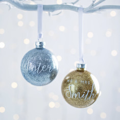 Personalised Mr And Mrs Glitter Bauble