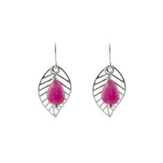 Pink leaf earrings