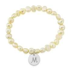 Pearl Bracelet with Personalised Silver Disc