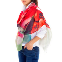 Cashmere Rome Flowers Printed Scarf