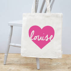 Personalised Heart Canvas Bag