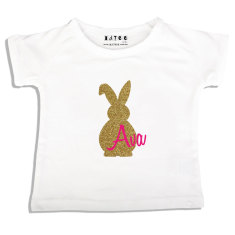 Girls' personalised Easter bling bunny t-shirt in pink or peach