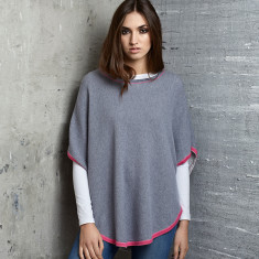 Reversible Cotton/Cashmere Poncho with trim