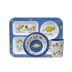 Tyrrell Katz Dinosaur Melamine Compartment Set (Tray, Bowl and Cup)