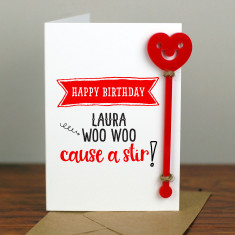 Woo Woo Cocktail Birthday Card with Cocktail Stirrer