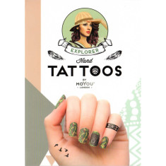 Temporary Explorer hand tattoos in black