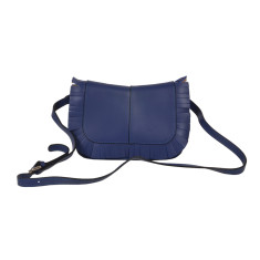 Small Leather Shoulder and Cross-body Bag in Blue Cobalto
