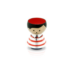 Hand-painted Danish Egg Cup in Red Stripes