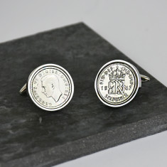 Sixpence Sterling Silver Cufflinks 1928 To 1967