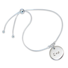 Personalised Disc of Love Sterling Silver Slider Bracelet