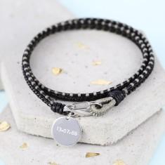 Men's Personalised Black Leather Fusion Wrap Bracelet